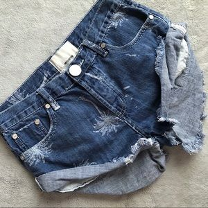 One Teaspoon Malibu Bandits Denim Palm Shorts 24